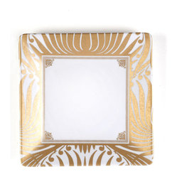 Q Squared NYC - Essex Salad Plate - Make the first course completely fabulous with this glamorous square salad plate. Giving your salad a gilded surface is just the thing a style maven would do — so go ahead, snap up these gold lamé plates!