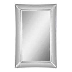 Ren-Wil - Ren-Wil MT1133 Portrait Aubry Mirror in All Glass - The Aubrey Mirror features a stately mirror border that envelopes the rectangular beveled center mirror creating a classy addition to any decor.