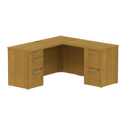"Bush - Bush 300 Series 60"" L-Shape 2-Pedestal Desk Set in Modern Cherry - Bush - Commercial Grade Office - 300S038MC -Functional beauty plus sophisticated styling comes standard with the Bush Modern Cherry 300 Series 60""W x 22""D Small Space Desk (B/B/F) with 36""W Return (F/F). Desk's narrow profile offers extra workspace yet fits in the tightest places. The 36"" Return lets you spread out comfortably. Five drawers, both B/B/F and F/F, hold all necessary papers, documents or office supplies. File drawers, on full-extension ball bearing slides, accommodate letter- legal or A4-size files. Wire grommets hide unsightly cords and cables, keeping desk surfaces clutter-free. Choose from multiple finish options to fashion a complete office suite. Total configuration flexibility lets you outfit any-size office space. Tough, rugged work surfaces resist scratching, stains, dings and dents, looking good for years. Includes BBF Limited Lifetime warranty."