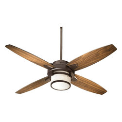 "Quorum Lighting - Quorum Lighting Alta 52"" Modern / Contemporary Ceiling Fan X-68-42585 - The curved detailing of the blade works to compliment the unusual rounded motor of this Quorum Lighting ceiling fan. From the Alta Collection, this contemporary ceiling fan features four walnut fan blades complimented by Oiled Bronze finishing. To complete the look, an updated satin opal glass diffuser has been used."