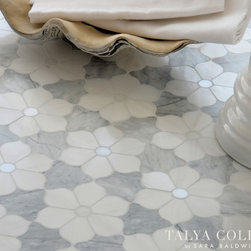 Theodora, Talya Collection by Sara Baldwin for Marble Systems - Theodora, a stone waterjet mosaic shown in polished Snow White, polished Afyon White and honed Avenza, is part of the Talya Collection by Sara Baldwin for Marble Systems.