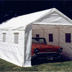 King Canopy - King Canopy 20 x 10 ft. Universal Enclosed Canopy Carport Multicolor - BJ2PC - Shop for Sheds and Storage from Hayneedle.com! The Enclosed Universal Canopy makes the perfect protection for your vehicle camping or outdoor parties! It combines a 20 gauge powder-coated steel structure with a white drawstring cover and wall kit to enclose this heavy-duty unit. The enclosed structure makes it the perfect storage structure for any backyard beach house or any open area that needs an economical storage unit.The walls consist of (1) plain end wall (1) zippered end wall and (2) sidewalls with clear plastic windows. Pipes are 20 gauge powder coated steel with an outside diameter of 1 3/8 inches. Fittings are 17 gauge powder coated steel with an outside diameter of 1 1/2 inches. Label included on canopy.Protect nearly anything with this canopy!