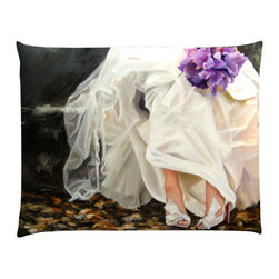 """Denise H. Cooperman - Belgium Linen Pillow - """"Mrs CL"""" Luxurious Belgium Linen Pillow. Museum quality Nano print on Imported Belgium Linen. Fully inner lined with a down combo fill and zipper. Dry Clean only. Truly elegant pillow with an image from the original oil painting """"Mrs CL"""". Each pillow is custom made to order. Typically there is one in stock but allow 4-6 weeks production if stock item is sold. This is part of the wedding series collection. The Original, Giclees, and Limited Edition Prints are also available."""