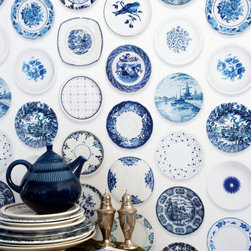 Porcelain Wallpaper, Blue by Jimmy Cricket - Fake it 'til you make it! I'd love to use trompe l'oeil wallpaper in a pantry.