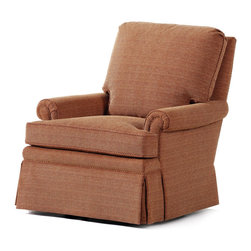 """Jessica Charles - Austin Swivel Rocker - Canter Fog Fabric - Handmade in North Carolina using local, sustainable hardwood.  Artisan upholstery and custom fit cushions.  Eight-way hand tied coils.  Spring Plush seat cushion consists of a Marshall unit core made of individually pocketed coil springs surrounded by an ultracell foam box which is then completely wrapped in a thick layer of comfort bond fiber and covered in ticking.  Back cushion is made up of 2"""" hollow polyester fibers that are siliconized to cut down on friction between fibers, thus reducing clumping and matting.  Arm caps included."""