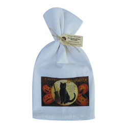 A Merry Halloween    Flour Sack Towel  Set of 2 - A fabulous set of 3 flour sack towels. This set features a wonderful antique Halloween print of A Merry Halloween.   These towels are printed in the USA by American Workers!