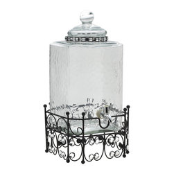 Elements - Elements 2.11-gal Clear Beverage Dispenser - Sitting on a beaded metal stand for easy access, this Elements beverage container is simply classy. With a wide opening, making it easy to add bigger ingredients, this dispenser is made of clear glass.