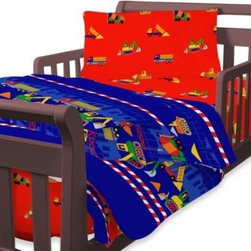 Global Home Living - Just for Kids by Global Home Living Builders Toddler 4-Piece Bedding Set - With its construction site theme, complete with dumptrucks, cement mixers, shovels and more, this bedding will make bedtime a fun project. The fun, brightly colored set includes comforter, sham and sheet set.