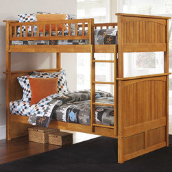 Nantucket Caramel Latte Bunk Bed - Gorgeous, beautiful, stylish, modern, neat and comfortable bunk bed. This bed is made in a transitional style and stunning caramel latte color. It Constructed in solid Eco-friendly Hardwood. This bed has 26 steel reinforcement points and two 14 piece slat kits. Thanks to high-quality materials and technology, this bed will delight you for many years.