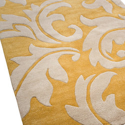 Jaipur - Aloha Apricot Rug, 5'x8' - A treat for the feet as well as the eyes, this playfully patterned rug, made of hand-tufted New Zealand wool with art silk accents, has a unique raised carving effect. Roll it out and you'll make any area extraordinary.