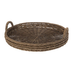 KOUBOO - Round Serving Tray in Lampakanay & Wicker - This round serving woven from the Lampakanay sea grass and Wicker holds a bounty of vegetables and fruits, can be used to carry dinner to a friend, or even offers itself up as a unique display piece in a living room or bedroom.