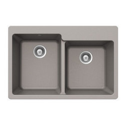 Sleek Chrome Quartz Composite 60/40 Double Bowl Undermount/Drop In Kitchen Sink - Deck contains three faucet drill-out holes.