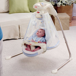 Fisher-Price - Papasan Baby Cradle Swing - The Papasan Baby Cradle Swing in starlight white sweet baby blue and shining star design makes it the perfect baby boy's swing. This ethereal cradle swing guarantees sweet dreams for your baby boy! Features: -Pale blue fabrics with sheer, star canopy.-White and metal frame.-Rocks side-to-side like a cradle or back and forth like a swing.-Nest-like seat with two adjustable settings.-Swings at six different speed settings.-Starlight projecting dome to soothe baby.-Sound mode with eight daytime songs and eight nighttime songs.-Ultra safe, three point restraint system.-Folds easily for storage.-Maximum weight capacity of 25 lbs.-Included toy tray with toy bead bar attached.-Collection: Papasan.-Product Type: Swing.-Distressed: No.-Non Toxic: Yes.-Lifestage: Baby.-Foldable: Yes -Travel Bag: No..-Musical: Yes.-Power Swinging: Yes -Swing Speeds: 6..-Battery Operated: Yes -Battery Type: D.-Batteries Included: No..-Lights: Yes.-Snack Tray: Yes -Removable Snack Tray: Yes..-Lightweight: Yes.-Canopy: Yes.-Harness: No.-Adjustable Seat: Yes.-Removable Seat: Yes -Machine Washable : Yes..-Padded Seat: Yes.-Wheels: No.-Outdoor Use: No.-Weight Capacity: 25.-Swatch Available: No.-Commercial Use: No.-Recycled Content: No.-Eco-Friendly: No.Dimensions: -Overall Height - Top to Bottom: 41.-Overall Width - Side to Side: 28.-Overall Depth - Front to Back: 44.-Overall Product Weight: 15.Assembly: -Assembly Required: Yes.-Additional Parts Required: No.