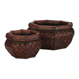 Nearly Natural - Nearly Natural Rounded Octagon Decorative Planters (Set of 2) - In a set of two (for more decorating possibilities), our Rounded Hexagon planters are sure to add a touch of tropic island decor to any living area. In a decorative mixture of light and dark burgundy, the cross hatch matting creates an interesting pattern sure to delight all who gaze on it. The design is accented with a soft rounded hexagon top in a fine cross hatch pattern.