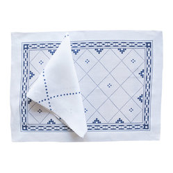 Huddleson Linens - Anfa Blue and White Linen Placemat - How incredibly charming and elegant are these Moroccan-inspired placemats? Sold in sets of four, they're sure to become a favorite for both casual and formal occasions. Made of fine Italian linen and completely machine washable.
