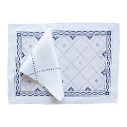 Huddleson Linens - Anfa Blue and White Linen Placemat, Set of 4 - How incredibly charming and elegant are these Moroccan-inspired placemats? Sold in sets of four, they're sure to become a favorite for both casual and formal occasions. Made of fine Italian linen and completely machine washable.