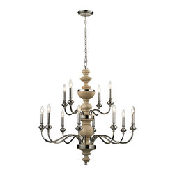 Elk Lighting - Elk Lighting Stratford Collection 8+4 Light Chandelier In Polished Nickel - 1418 - 8+4 Light Chandelier In Polished Nickel - 14183/8+4 in the Stratford collection by Elk Lighting The Stratford collection exhibits historic charm while proudly displaying its eye catching material combination.  A center column of solid turned wood, finished in washed pine, combines with Polished Nickel metalwork for a classic and inviting design.  Chandelier (1)