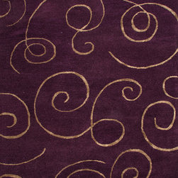 Jaipur Rugs - Transitional Abstract Pattern Pink /Purple Wool/Silk Tufted Rug - BQ05, 5x8 - The Baroque collection has a simple modern aesthetic.Hand tufted in 100% wool each rug is beautifully colored to reflect todays home trends.
