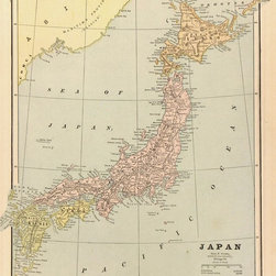 Consignment Antique Map of Japan, 1889 - Original antique map of Japan showing mountains, rivers, railroads and towns. Color engraving from 1889.