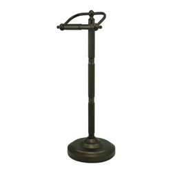 "Kingston Brass - Pedestal Toilet Paper Holder - Kingston Brass' bathroom accessories are built for long-lasting durability and reliability. They are designed so you can easily coordinate matching pieces. Each piece is part of a collection that includes everything you need to complete your bathroom decor.; 21-1/2"" tall; 7-1/2"" diameter base; 6-1/4"" toilet paper rod; No tools required for assembly; Matching accessories available; Material: Brass; Finish: Oil Rubbed Bronze; Collection: Vintage"