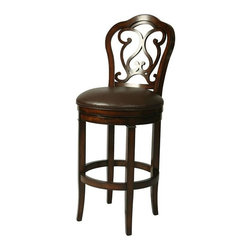 """Pastel Furniture - Pastel Furniture Fontana 26 Inch Barstool - The Fontana barstool is beautifully designed and made with intricately detailed back. This barstool will add a classy and elegant touch to your home decor. This wood and leather barstool features a quality wood frame with sturdy legs finished in Distressed Cherry and Murano accent. Upholstered in Bonded Ridge Leather. Available in 26"""" counter height or 30"""" bar height."""