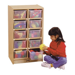Jonti-Craft - Kydz 10 Tray Mobile Storage Cubbie Multicolor - 06110JC - Shop for Childrens Toy Boxes and Storage from Hayneedle.com! The Kydz 10 Tray Mobile Storage Cubbie is designed around a host of patented features which make Jonti-Craft a leading manufacturer of kids furniture. Unlike stationary storage models the line of mobile cubbies is supported by four smooth-rolling casters mounted on specially engineered corner brackets for extra reinforcement. A protective kick plate prevents small object from getting lost underneath where tiny fingers and toes could be exposed to injury. The storage cubbie itself is constructed using superior dowel-pin construction with all edges fully rounded and extra-safe. Each of the 10 Jonti-Craft individual storage tubs is light and durable and the convenient slide rails make them easy to slide in and out. This storage cabinet is available with your choice of multi-colored plastic tubs clear plastic tubs or no tubs for open cubbies. The entire storage measures 20W x 15D x 35.5H inches. The KYDZ Tuff finish won't stain or yellow and is made of the same scratch-resistant protection used on gymnasium floors.Located in Wabasso Minn. Jonti-Craft is the leading manufacturer of quality learning products for children. Carefully designed birch wood material patented KYDZ products and Rainbow Accents thermo-fused laminates ensure that every item of furniture bearing the Jonti-Craft name is built and guaranteed for life. Employing only the strongest construction techniques as well as rounding and protecting all edges and corners Jonti-Craft maintains the highest safety standards. Commitment to building safe high-quality sustainable furniture for the children of the world continues to make the Jonti-Craft difference.