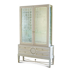 Kathy Kuo Home - Rutherford Hollywood Regency Dove Grey Silver Eglomise Collector's Cabinet - Oversized opulence sets this shimmering silver display cabinet apart from the rest. Tall glass doors, finished in traditional French silver leaf eglomise, grace the top cabinet, while the bottom chest holds four generously-sized drawers. Metallic silver knobs embellish each cabinet door and drawer. An illuminated interior holds two clear shelves, perfect for displaying collectibles of any kind.