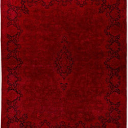 Rug Knots - Red Overdyed Oriental Runner Rug with Border 11.5x14.5 - This romantic rug features rich red colors and deep plum accents. Its simple, traditional design hinges on a vertical, floral-shaped centerpiece, which is surrounded by lighter detailed motifs. The rug's border contains an inverse-colored pattern, creating a beautiful frame. This Overdyed piece was dyed by hand with an all-natural wash, and is made of pure wool fibers. Its large, 14.5x11.5 shape makes it the perfect statement piece for an oversized room. Add this design piece to a space and watch your room transform.