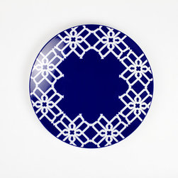B by Brandie - Navy Truman Appetizer & Dessert Plate - Inspired by Truman Capote's legendary joie de vivre with the toast of the town, this bold salad plate helps set the stage--and the table--for a sophisticated statement.