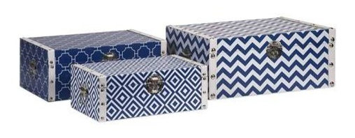 Essentials Storage Boxes, Navy - With the bright color and bold patterns which define the Marine Blue collection from Essentials by Connie Post, these decorative boxes are a brilliant storage solution to declutter your room.