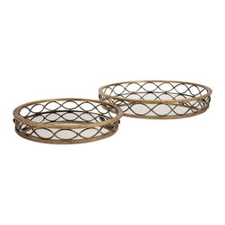 "IMAX - Prestco Mirror Tray - Set Of 2 - Elegant ellipses: A pair of mirrored metal trays in two sizes are ringed with classic, contiguous oval shapes and finished in antique gold. Dimensions:(2.75-3.5""h x 18-24.25""d)"