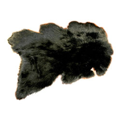 Fur Accents - Fur Accents Pelt Rug / Faux Fur Black Mount Skin / Unique Designer Quality, 4' - A Truly Unique Accent Rug. Rich Shaggy Black Faux Animal Pelt Area Carpet. Wild Mountain Sheep Design. Made from 100% Animal Free and Eco Friendly Fibers. Perfect for any room in the house. Skilfully made and Tastefully lined with real Parchment Ultra Suede. Luxury, Quality and Unique Style for the most discriminating designer/decorator.