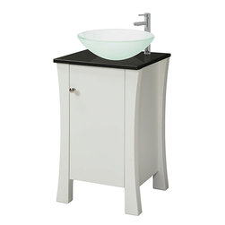 DECOLAV - Decolav White Wood Granite-top Vanity - Decolav's white wood vanity has a granite countertop and satin nickel hardware. The vanity provides ample storage space and accommodates an above-counter sink (not included).