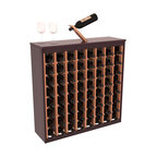 Wine Racks America - Two Tone 64 Bottle Deluxe Wine Rack in Redwood, Burgundy Stain & Natural + Satin - Styled to appear as wine rack furniture, this wooden wine rack will match existing decor while storing 64 bottles of wine. Designed to look like a freestanding wine cabinet, the solid top and sides promote the cool and dark storage area necessary for aging wine properly. Your satisfaction and our racks are guaranteed. All Two-Tone racks include a professional grade eco-friendly satin finish and come with a free matching magic bottle balancer.