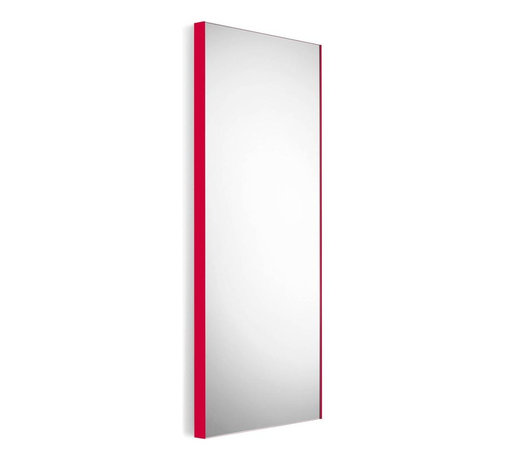 WS Bath Collections - Wall Mount Mirror with Red Frame - Modern/ contemporary design. 5 years silvering guaranteed. Warranty: 1 year. Made of glass mirror with powder coated aluminum. Made in Italy. 17.5 in. W x 39.4 in. H (30 lbs.). Spec SheetLinea; washbasins, washstands, and bathroom furniture, of various sizes and materials. Pureness of glass, polish of steel, and warmth of wood. Perfection of lines, art, and harmony. Made by Lineabeta of Italy to Highest Industry standards.