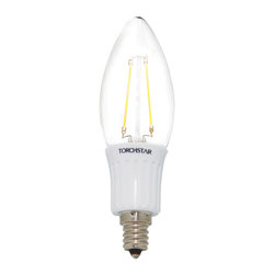 TorchStar - 3W Clear LED Filament Bulb Candle Light - 40W Equivalent E12  Base 360 degree - Overview