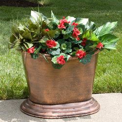 "28"" Oval Hammered Copper Planter - Antique Copper - Perfect for adding a unique piece to your entry or garden area, this 28"" Oval Hammered Copper Planter is great for any style home. This oval shaped planter features a unique lightly hammered Antique Copper finish."