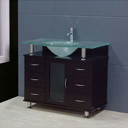 Design Element - Design Element Contemporary Bathroom Vanity Set with Frosted Top - Vanity features solid hard wood-constructed base and mint-frosted tempered-glass counter top Vanity includes six drawers and one cabinet for plenty of storage