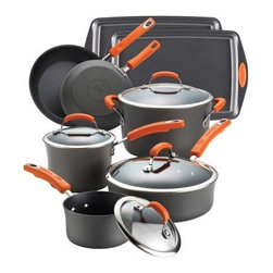 Rachael Ray Hard Anodized II 12 pc. Cookware Set - Orange Handles - Create fun and exciting super-nutritious and innovative meals and baked goods with the help of the Rachael Ray Hard Anodized II 12 pc. Cookware Set - Orange Handles. This set is the perfect combination of durability and style and has all the essential pieces to make memorable meals every day. The hard-anodized construction provides even heat helping to reduce hot spots that can burn food and ruin a meal. Coated with a durable nonstick inside and out for exceptional food release and easy cleanup cooking and cleaning just got easier. Create Rachael's Vegetable Cacciatore by browning vegetables in the saute pan while the accompanying whole wheat penne bubbles away in the stockpot. Tempered glass lids allow you to monitor food while it cooks keeping heat and moisture sealed in. The colorful orange grippy handles feel great in your hand and are oven safe to 350 degrees. This set also includes two durable carbon steel nonstick cookie pans also with grippy handles that are oven safe to 500 degrees so you can make your favorite cookies for friends and family. Every piece in this cookware set is dishwasher safe for convenient fast and simple cleanup. Additional Features Hard anodized construction provides even heating Helps to reduce hot spots that can burn food Durable nonstick interior for easy food release Set includes 2 nonstick carbon steel cookie pans Bakeware oven safe up to 500 degrees F Tempered glass lids form a tight seal Lids lock in heat and moisture Double rivets on handles add strength Fun comfortable orange handles Set Includes: 1-Quart Covered Saucepan 3-Quart Covered Saucepan 6-Quart Covered Stockpot 3-Quart Covered Saute Pan 8.5-Inch Skillet 10-Inch Skillet 2 10 x 15-inch Rachel Ray Cookie Pans with Orange Silicone Grips About Rachael Ray Cookware and CutleryRachael Ray means fun functional colorful cookware and cutlery inspired and endorsed by the TV personality herself. Express yourself through your cookware with these truly unique pieces made with high-quality materials like cast iron and bright enamel exteriors. These hard-working pieces are perfect for all types of cooks from casual home users to commercial chefs and you'll love the way they look in your kitchen.