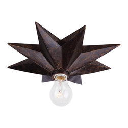 Crystorama - Astro Flush Mount - You're a style star — and this simple fixture serves to reflect that. The handsome bronzed base holds a single unshaded bulb to make a strong statement in your decor.