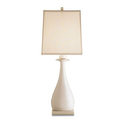Currey and Company - Ella Table Lamp - The unique shape of this lamp makes it exquisite. The lamp is topped by a cream silk shade.