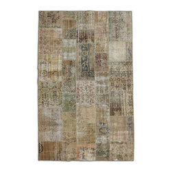 """Pre-owned Light Brown/Sage Overdyed Turkish Patchwork Carpet - Traditional Turkish patterns from an assortment of vintage pieces mix to make this hand made, naturally distressed vintage rug. Full cotton backing and decorative blanket stitch edging.    Remnants of vintage wool on a cotton warp, made entirely by hand in the '60's through '80's when Turkish women still included weaving in their daily homemaking chores. Employing the sturdy double knot technique unique to Turkish rugs, multicolor floral and medallion motifs were created a row at a time using bright hand dyed wools. Considered too old fashioned for modern Turkish homes in their traditional incarnations, these rugs have languished in back rooms of the bazaars‰Ű_until now, as these fragments in excellent condition are overdyed and combined to create modern patchwork statements for the floor.    Note from the seller: """"Our revitalization process keeps rugs that may otherwise get tossed out of landfill. Repurposed discards are helping artisans connect and create, supporting the community we're building here in Istanbul to revive vanishing traditional fiber crafts.‰Űť    Please note that all sales are final - These amazing rugs are coming direct from Istanbul, Turkey and returns will not be allowed."""