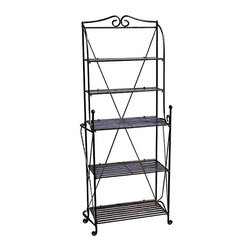 None - Folding Baker's Rack - This elegant folding baker's rack provides a stylish and practical solution for your kitchen storage needs. Easy to fold,it can be assembled without any tools,while the wrought iron structure assures maximum durability and a timeless appeal.