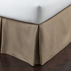 Frontgate - Rio Bed Skirt - 100% linen. Pleated. Dry clean only. Flanged with satin stitched detail. Because this item is specially made to order, please allow 2-3 weeks for delivery. Crisp and modern, the Rio Bed Skirt seamlessly blends with other bedding ensembles to create a perfectly tailored look. Available in a variety of soothing neutrals, this linen essential features a smart, satin-stitched accent. . . . . . Imported.