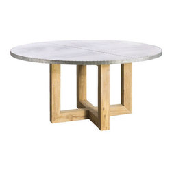 Kingston Krafts - Indira Zinc Top Dining Table - Fabricated by hand, REAL zinc sheeted top is fitted to solid pine base. A signature acid wash is applied to the zinc top for a time worn look. Base is constructed of solid pine in an antique pine waxed finish.