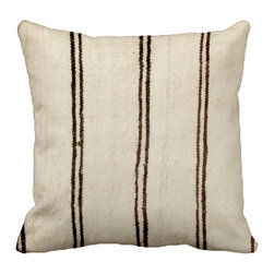 vintage by dounia - Consigned - Beni Ouarain Pillow II - Handwoven pillow by the Beni Ouarain tribe in the Middle Atlas mountains of Morocco. Gorgeous natural colors of cream and brown.
