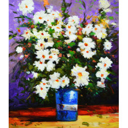 Camelia (Original) by Kanayo Ede - Impressionist acrylic painting of a bouquet of Camelia flowers on a blue vase.