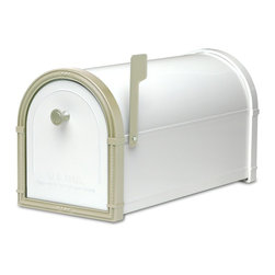 "Architectural Mailboxes - Bellevue Post Mount Mailbox White with White Bronze Accents - ""Neither rain nor snow… "" You can count on this good looking mailbox to keep your incoming mail secure from the elements for many years to come."