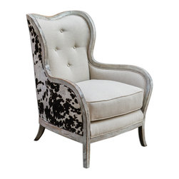 """Uttermost - Chalina High Back Armchair - Curvy, exposed wood frame is solid hardwood in an aged, bone-white finish, separating the dark chocolate and milky white velvet outer surround from the soft, neutral linen box cushion and tufted inside back. Seat height is 20""""."""