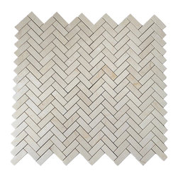 """Crema Marfil 1x3"""" Herringbone Marble Mosaic Tile - This picture shows four (4) sheets of 1x3"""" Herringbone Mosaic tile on a 12x12"""" Mesh.  Available online from www.thebuilderdepot.com"""